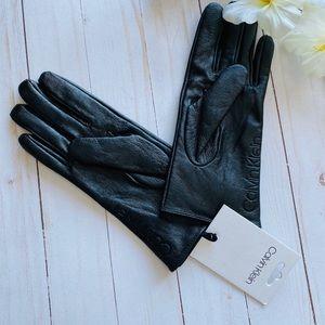 NWT Calvin Klein Black Leather Gloves